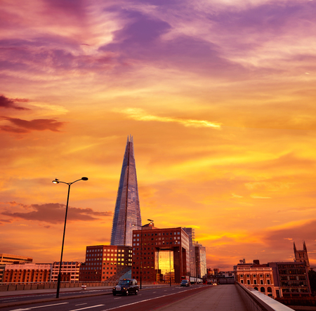 shard: London The Shard building at sunset in England