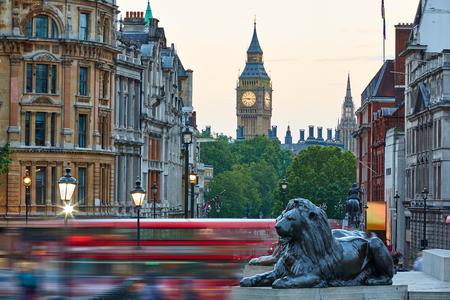 trafalgar: London Trafalgar Square lion and Big Ben tower at background Stock Photo