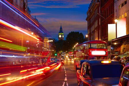 trafalgar: London Big Ben from Trafalgar Square traffic lights at sunset Stock Photo