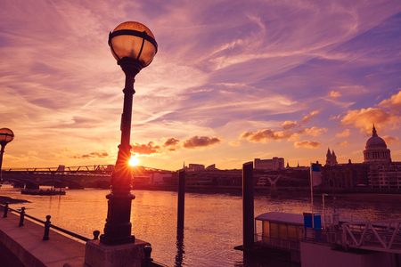 London sunset skyline with St Pauls in UK
