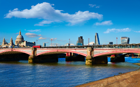 London Blackfriars bridge in Thames river UK