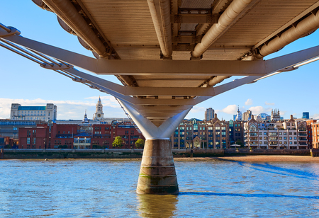 sights: London Millennium bridge skyline in UK