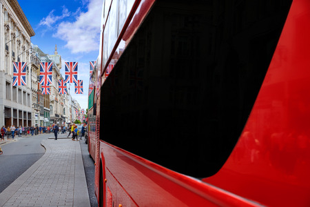 oxford street: London bus Oxford Street W1 Westminster in UK England