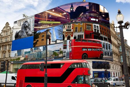 Piccadilly Circus London Images on screens are my own copyright digital photomount Stock Photo