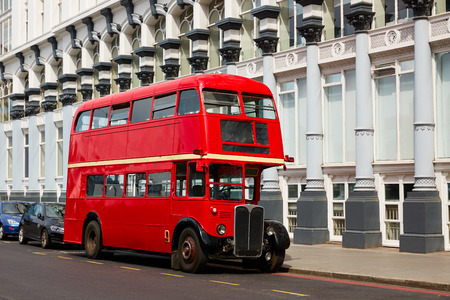 London Red Bus traditional old in England 報道画像
