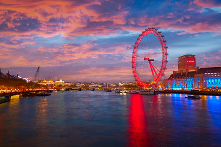 London sunset at Thames river near Big Ben in England