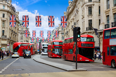 London bus Regent Street W1 Westminster in UK England 스톡 콘텐츠