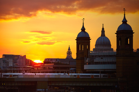 st pauls: London Bridge sunset at Thames with St Paul Pauls Cathedral Stock Photo