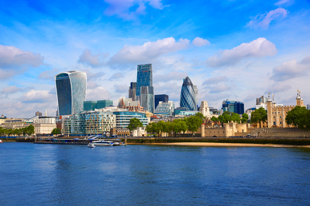 London financial district skyline Square Mile England UK