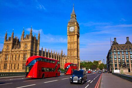 Big Ben Clock Tower and London Bus at England