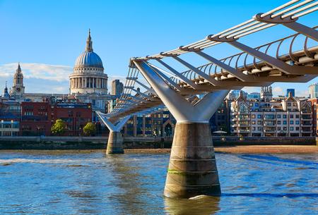 st pauls: London St Paul Pauls cathedral from Millennium bridge on Thames UK