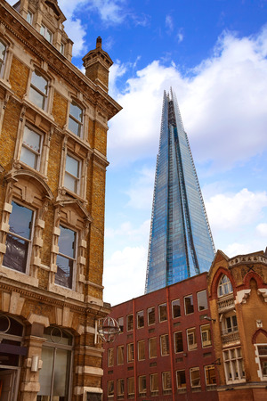 shard: London shard view from old brick buildings in England