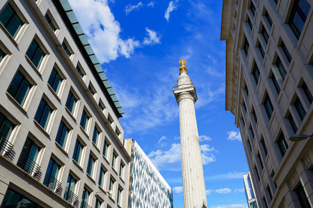 column: London Monument to the Great Fire column in England UK