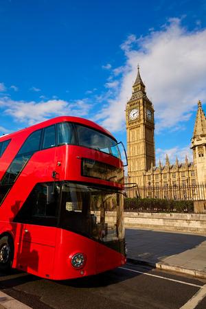 Big Ben Clock Tower with London Bus England