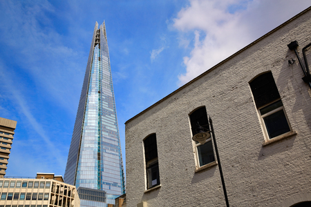 southwark: London shard view from Southwark old brick buildings in England