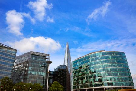 London skyline City Hall and Shard on Thames river