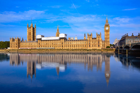 Big Ben Clock Tower and thames river in London at England