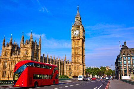 england big ben: Big Ben Clock Tower and London Bus at England