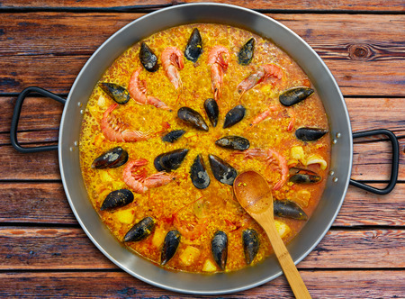 Seafood paella from Spain recipe of Valencia Stock Photo