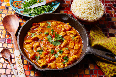 Chicken curry indian recipe with basmati rice Stock Photo