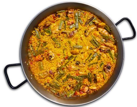 Paella uit Spanje kip en konijn rijst recept uit Valencia Stockfoto