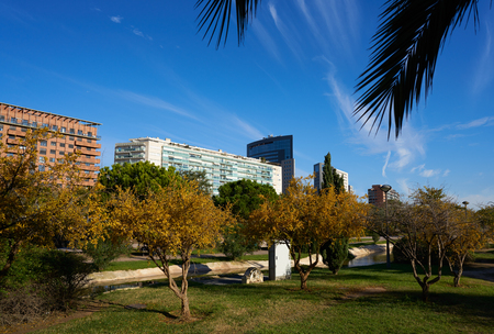 Valencia modern town skyline from the park view in Spain Mediterranean Stock Photo