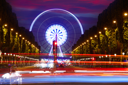 champs elysees: Champs Elysees in Paris and Concorde sunset at France