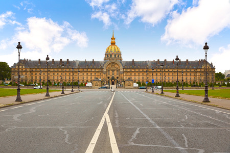 Les Invalides facade in Paris at France Stock Photo