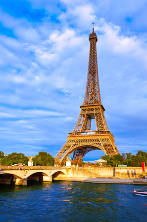 Eiffel tower at sunset in Paris France Stock Photo