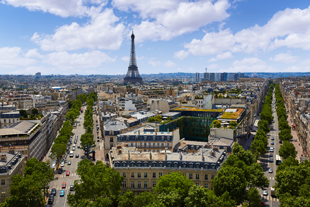 romantic places: Paris Eiffel tower and skyline aerial view in France Stock Photo