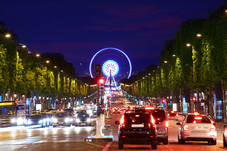 Champs Elysees avenue in Paris at France Stock Photo