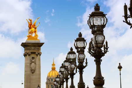 Pont Alexandre III in Paris France over Seine river