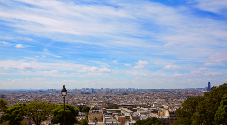 romantic places: Paris skyline aerial from Montmartre in France