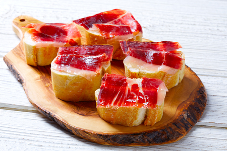 iberian ham from Spain tapas pinchos food recipes Stock Photo
