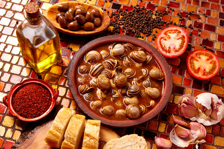 dinner menu: Tapas snail recipe from Spain in clay plate Stock Photo