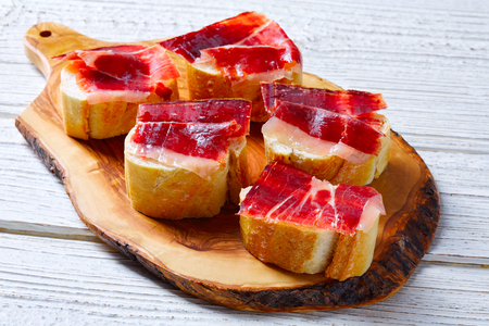 iberian ham from Spain tapas pinchos food recipes Stock Photo