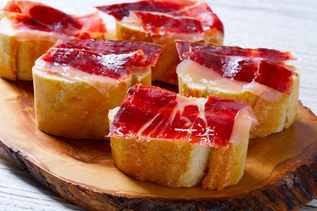 iberian ham from Spain tapas pinchos food recipes 스톡 콘텐츠