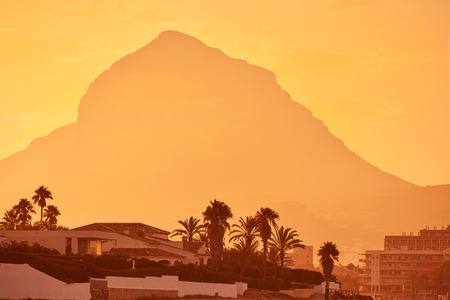mongo: Javea Xabia sunset with Montgo mountain in Alicante at Spain