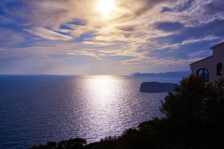Cap de la Nau Nao cape sunset in Xabia Javea Mediterranean sea of Alicante Spain Stock Photo