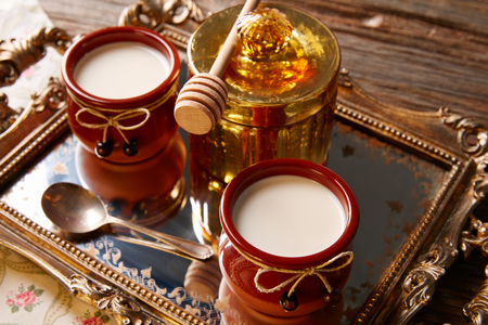 Curd dairy dessert with honey in golden tray Stock Photo