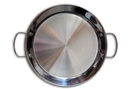 Paella pan in stainless steel on white background