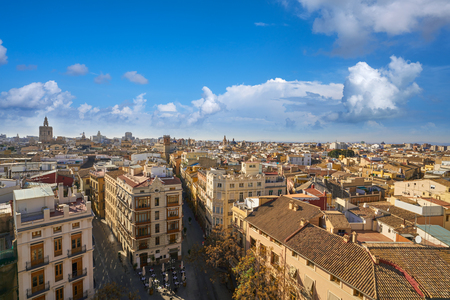 Valencia skyline old town aerial view in Spain Stock Photo