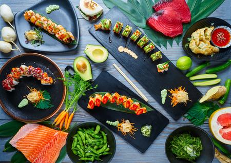 Asian Japan Sushi varied recipes with algae and Edamame Stock Photo