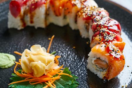 Rice Maki Sushi with salmon and tuna fish