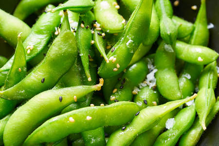 Edamame fresh soya beans close-up macro texture immature soybeans in the pod