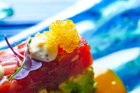 Tuna fish Tartare Tartar with wakame seaweed and soya Stock Photo