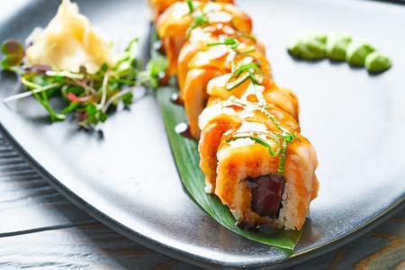 Rice Maki Sushi with nori foie mango and sweet onion