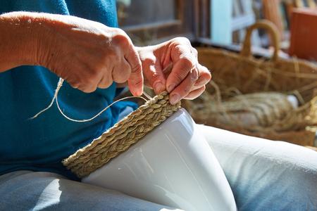 basketry: Esparto halfah grass crafts craftsman hands working