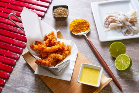 calamares: Fried breaded squid and curry sauce and lime recipe