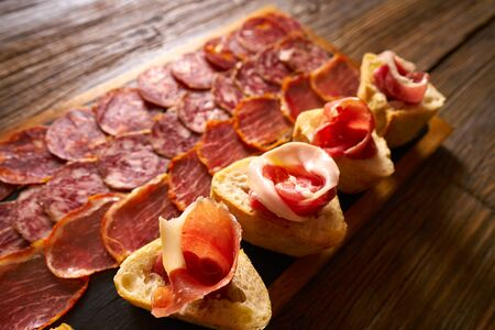 Iberian sausages and ham board Tapas from spain